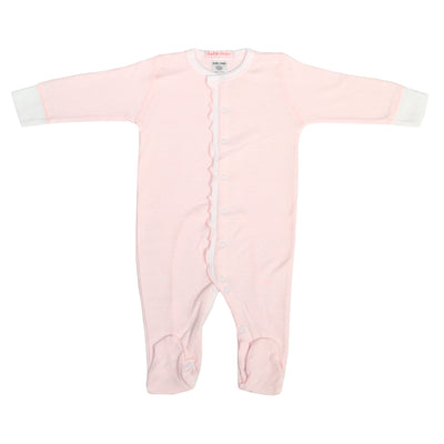 Pink Ruffle Footie with Pinstripes