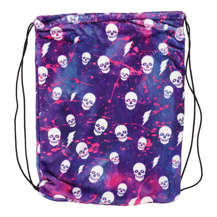 Pink Splatter Skull drawstring bag