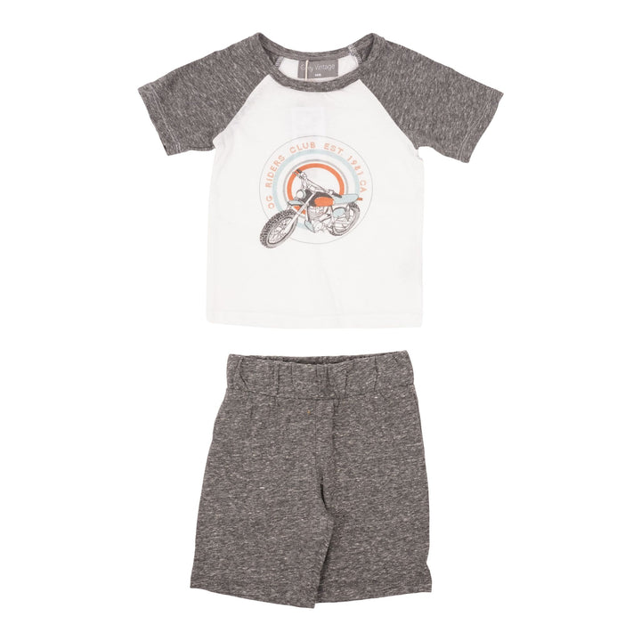Two Piece Set with Motorcycle Raglan & Grey Shorts