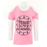Short Sleeve Cold Shoulder Top with Peace, Love, Camp