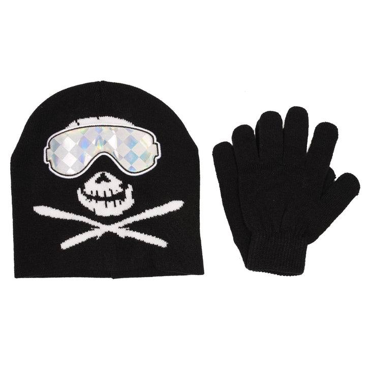 Goggle Skull Crossbones Beanie and Glove Set
