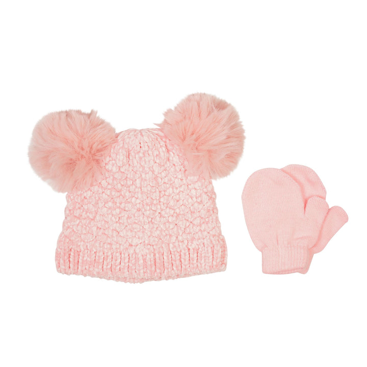 Chenille 2 Pom Hat and Mitten Set