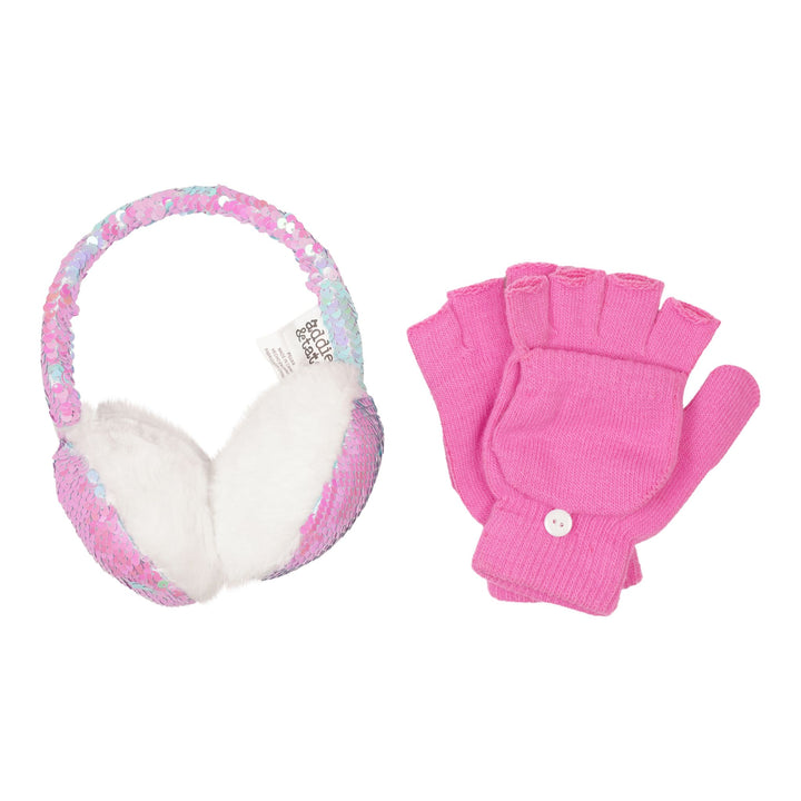 2 Piece Sequin Ear Muff & Fingerless Glove