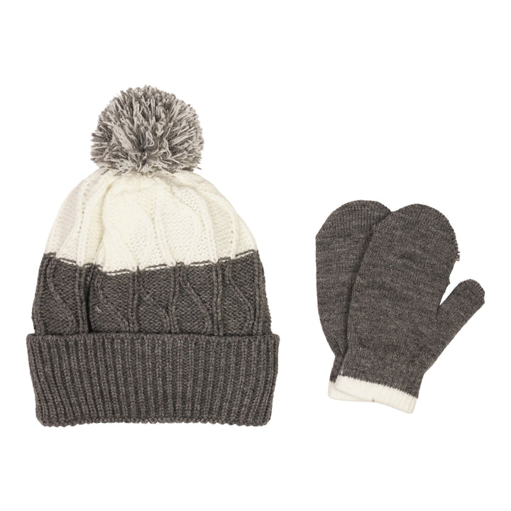 Grey and White Pom Hat and Mitten Set