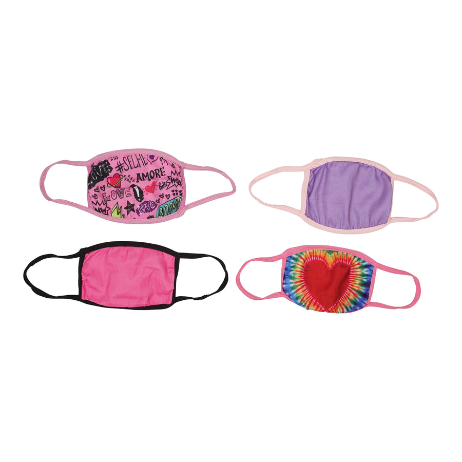 Girls 5 Pack Face Mask Red Heart Assorted Prints