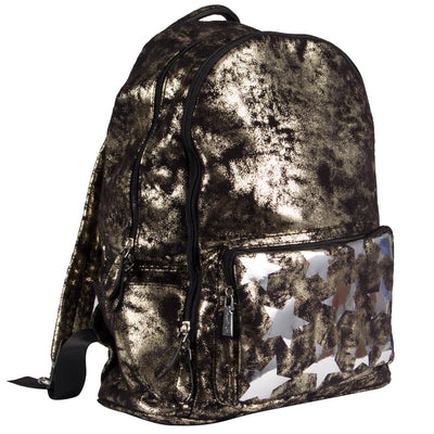 Star Print On Pocket Metallic Shimmer Backpack