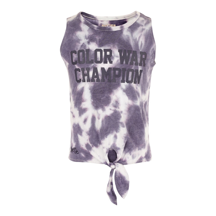 Color War Champion Tie Dye Tank with Tie Front