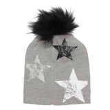 Knit Hat with Faux Fur Pom and Stars - Fits Sizes 7-14