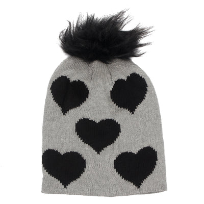Knit Hat with Faux Fur Pom & Hearts - Fits Sizes 7-14