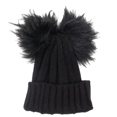 Beanie with Double Pom Poms - Fits Sizes 7-14