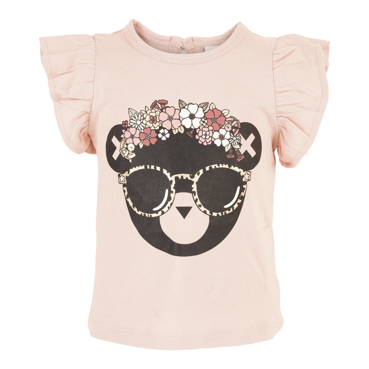 Floral Hux Tee with Ruffle Cap Sleeves