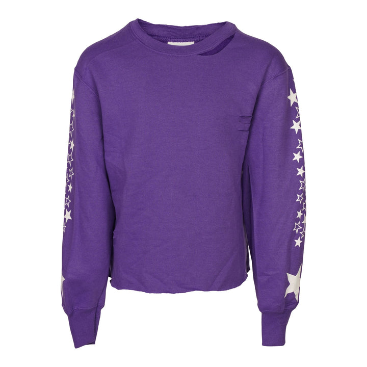 Stars Sleeve Destructed Sweatshirt