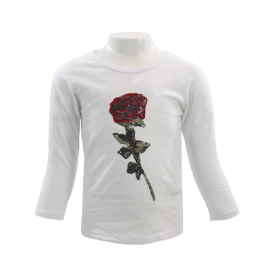 Long Sleeve Tee with Rose