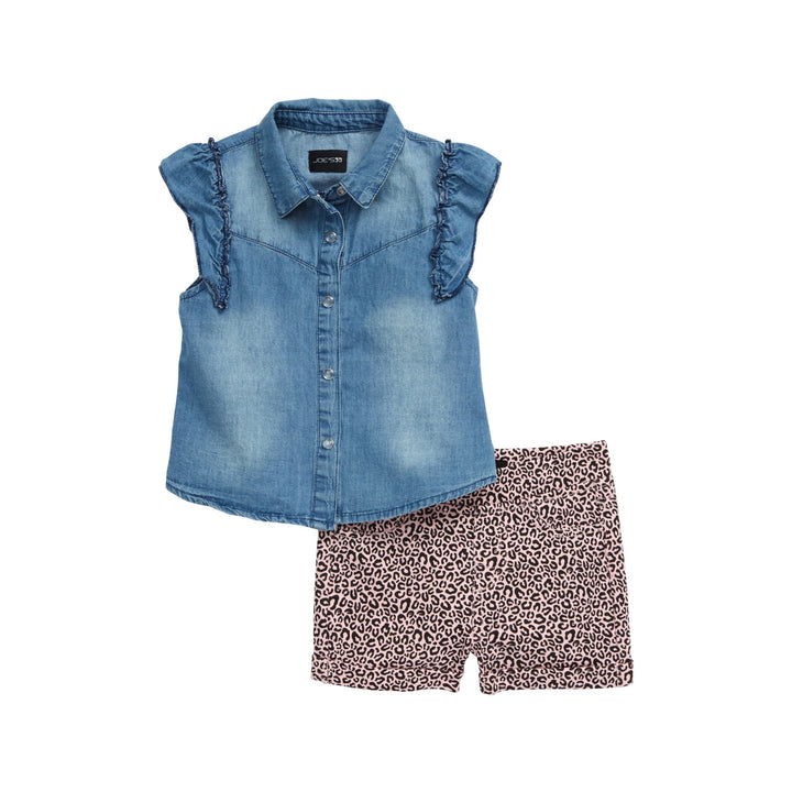 2pc Set Denim and Leopard Short