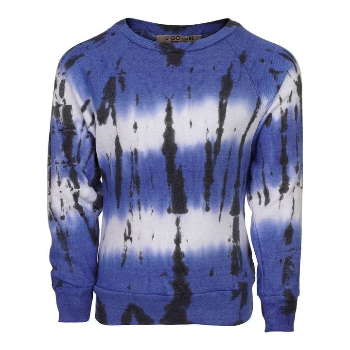 Blue & Black Stripe Tie Dye Sweatshirt