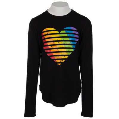 Long Sleeve Banded Top with Primary Heart