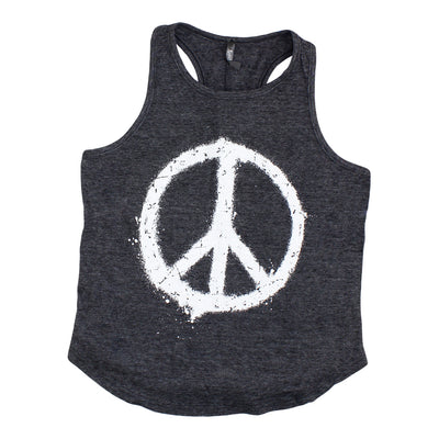 Racerback Tank with Peace Sign Splatter