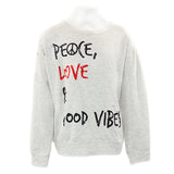 Long Sleeve Banded Top with Cuts and Peace, Love, & Good Vibes