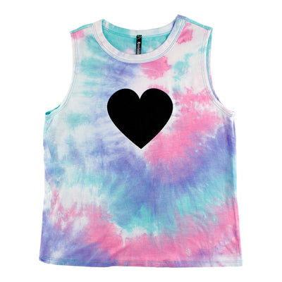 Pink Purple Mint Tank with Black Heart