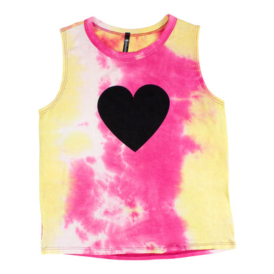 Pink Yellow Tank with Black Heart