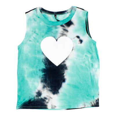 Navy and Turquoise Tank with White Heart