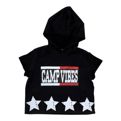 Crop Short Sleeve Hoody with Camp Vibes Stars