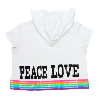 Crop Short Sleeve Hoody with Peace Love Neon Retro