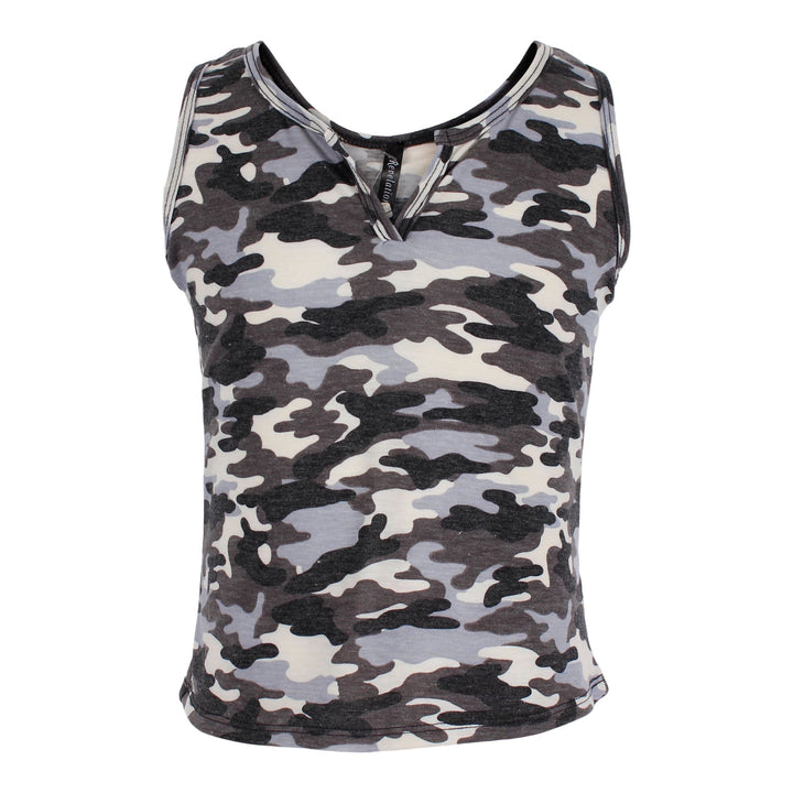Camo Cropped Tank with Cut Neck