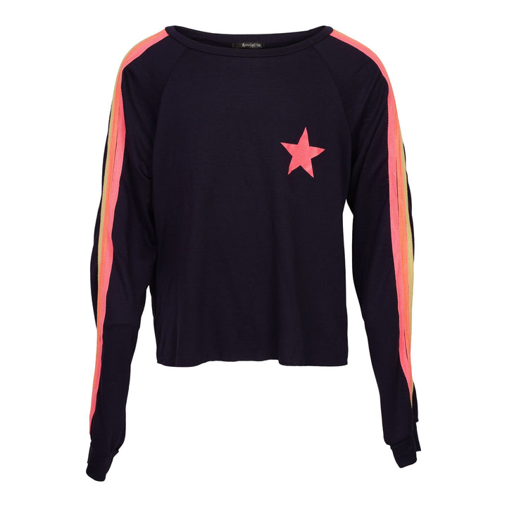 Neon Stripes & Star Long Sleeve Top
