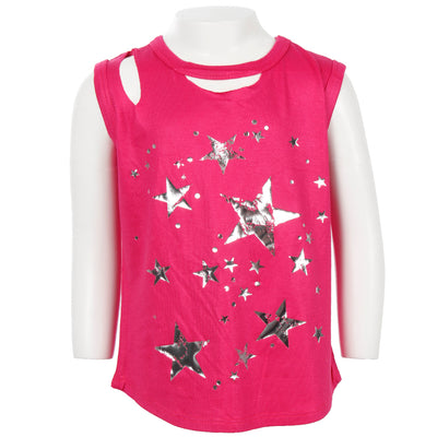 Clavical Cut Out Tank With Foil Stars