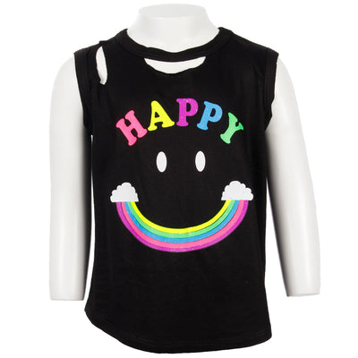 Clavical Cut Out Tank With Happy Smiley Rainbow