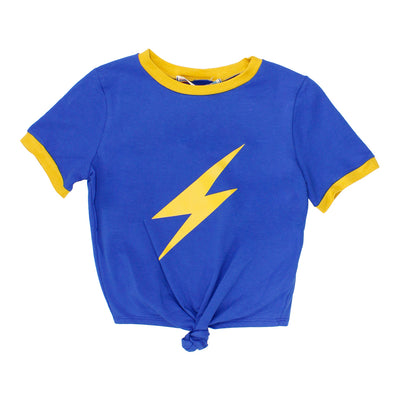 Short Sleeve Tee Tie Front WIth Gold Lightning Bolt