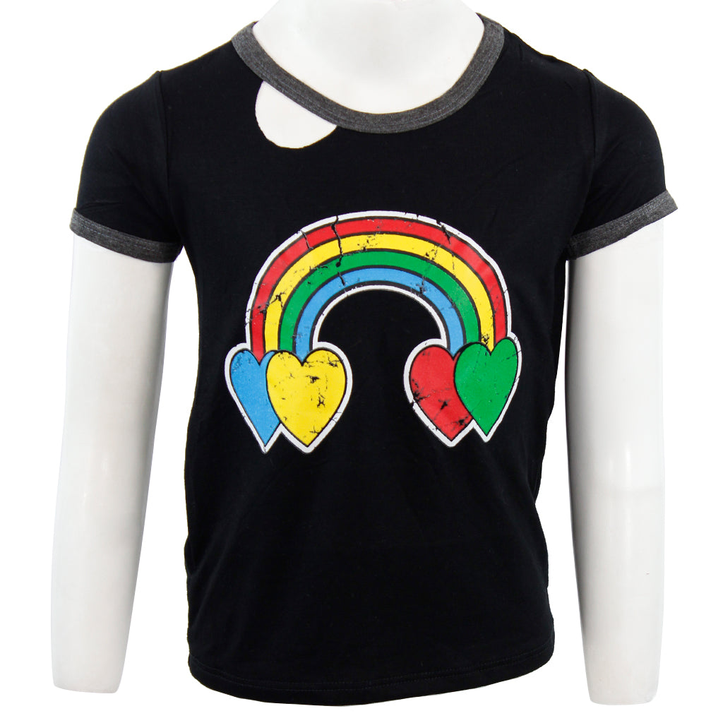 Short Sleeve Ringer Tee with Rainbow Heart