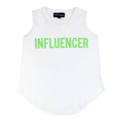 Burn Out Slash Neck Tank with Influencer
