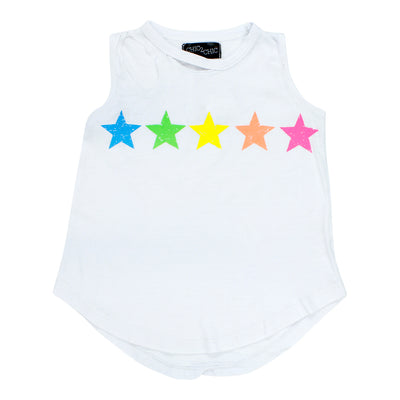 Burnout Slash Neck Tank with Neon Stars