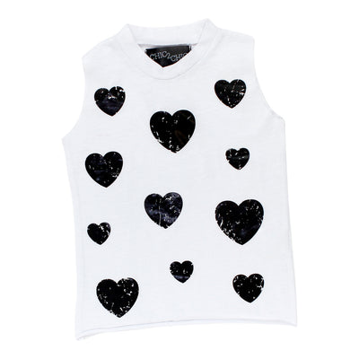 Sleeveless Tank with Black Foil Hearts