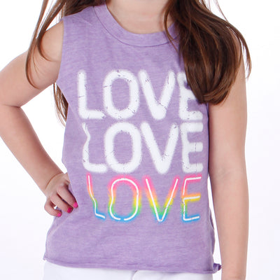 Sleeves Tank with Neon Light Love