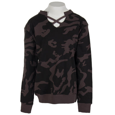 Camo Cross Neck Pull Over Sweatshirt