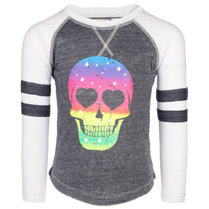 Rainbow Ombre Skull Burnout Varsity Long SleeveTee