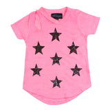 Short Sleeve Cutout Tee with Blk Stars