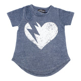 Short Sleeve Cut Out Tee with Heart