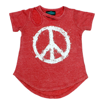Short Sleeve Cutout Tee with Peace Sign