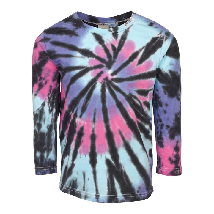 Blk Fuschia Royal Swirl Tie Dye Long Sleeve