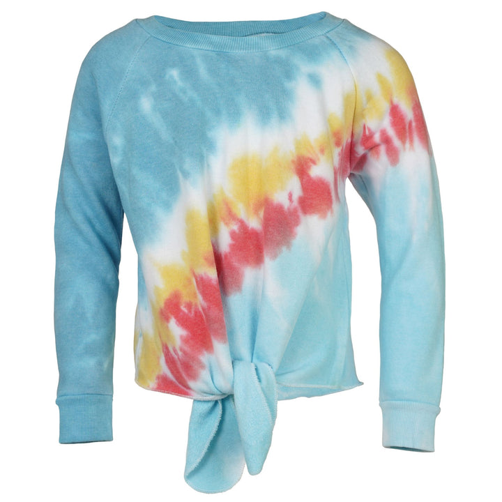 Long Sleeve Knot Top Blue Tri Color