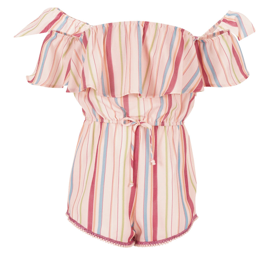 Color Stripe Off Shoulder Romper