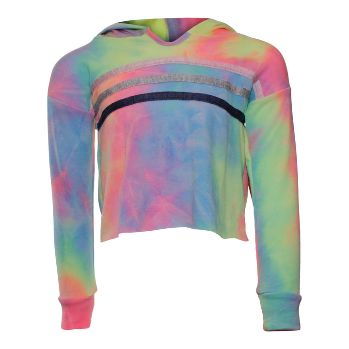 Rainbow Tie Dye Pullover Hoodie with Striped Chest