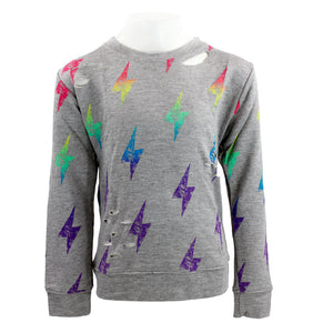 Sweatshirt with Lightning Bolts and Cuts
