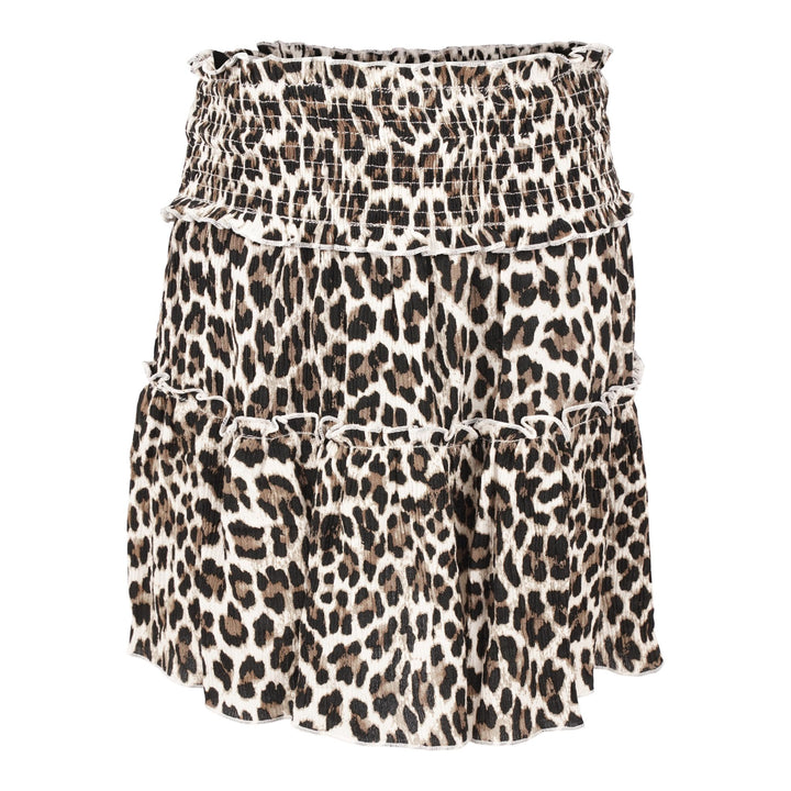 Smocked Leopard Skirt