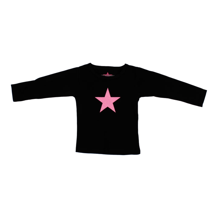 Long Sleeve Black Tee with Pink Star