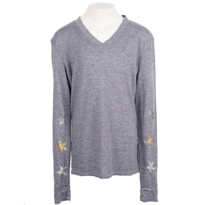 Long Sleeve Top with Metallic Glitter Stars on Arms